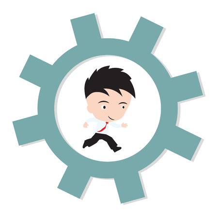 satire: businessman happy to running on gear, business working concept, presented in vector form