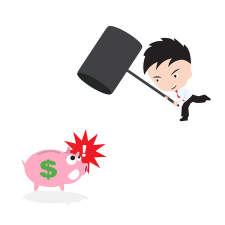 smashed: Businessman, smashed piggy bank with hammer, in vector form, saving concept