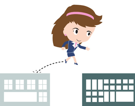 gap: business woman happy jumping over gap of buildings as obstacle for success concept, presented in vector form