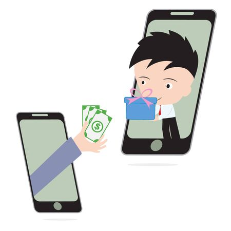 give money: business hand, give money and businessman delivery gift or goods via mobile system, e-commerce shopping online concept