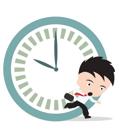 running late: Businessman running late as hurry up for work and clock rush hour, on white background