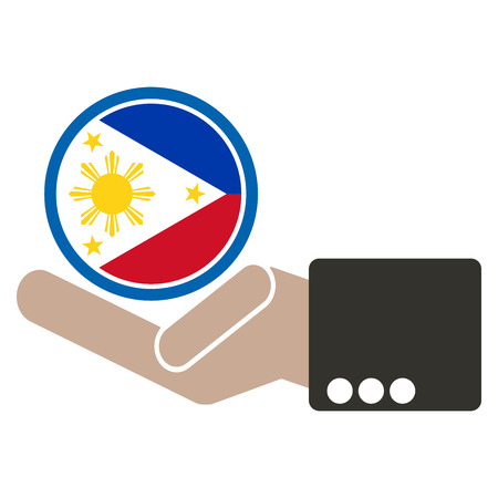 joined hands: businessman hand with Philippines flag Illustration