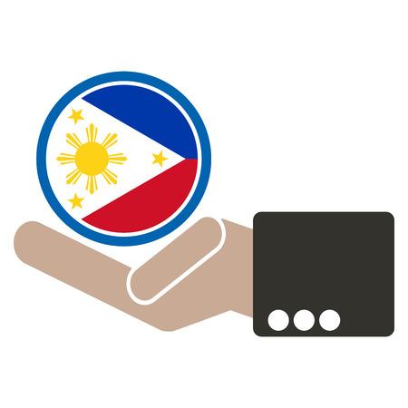 joined hands: empresario de la mano con la bandera de Filipinas