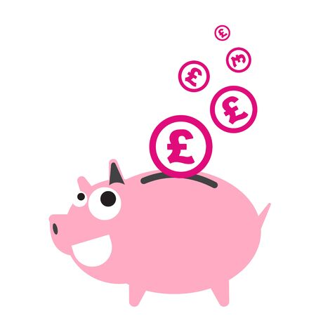 coin bank: Piggy bank money happy, currency Pound symbol coin falling for saving concept in vector Illustration