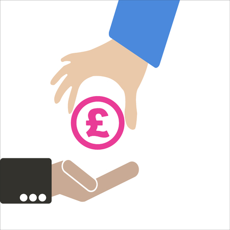 foreign exchange rates: Human hand keep currency Pound symbol for market and stock money exchange concept in vector