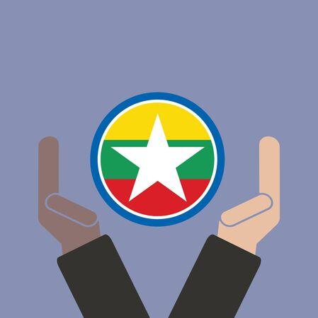 joined hands: mano de negocios con la bandera de Myanmar