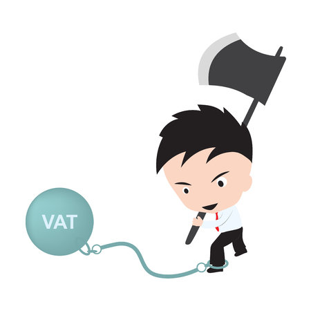 vat: Businessman holding axe and aiming to cut the chain with wording VAT, reduce costing concept
