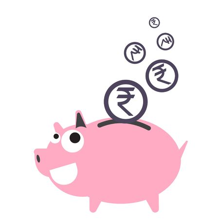 dept: Piggy bank money happy, currency Rupee symbol coin falling for saving concept in vector