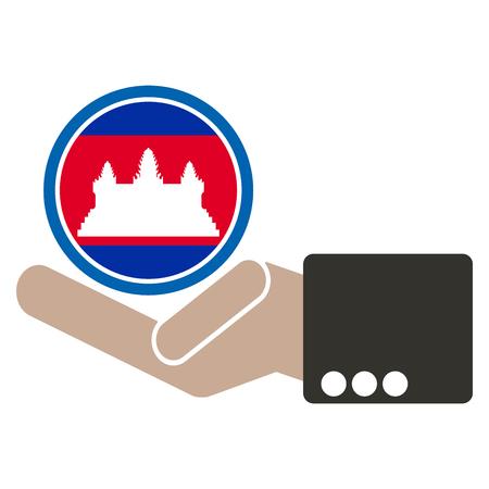 manos unidas: mano de negocios con la bandera de Camboya Vectores
