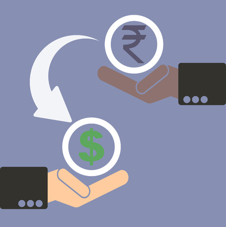 foreign exchange rates: Human hand with currency symbols for market and stock money exchange concept in vector, rupee to dollar
