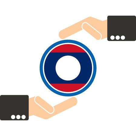 manos unidas: mano de negocios con la bandera de Laos