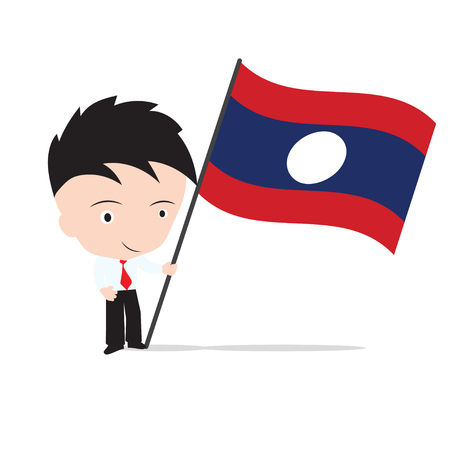 Businessman standing and, holding flag of Laos