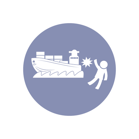 boat accident: Accident icon Symbol Sign Pictogram, Insurance safety concept pictogram in vector, people crashed by ship or boat