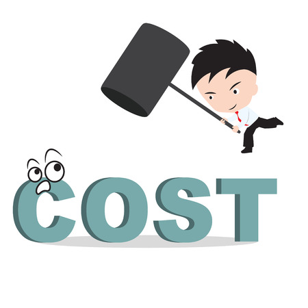 smash: Businessman holding hammer and aiming to smash the wording COST, reduce costing concept