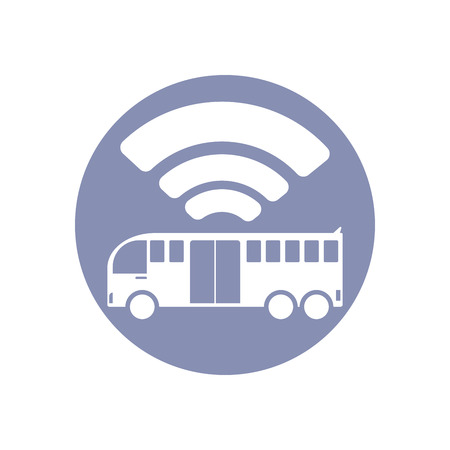 emarketing: Wi-Fi network connection symbol sign icon pictogram for presentation in vector; BYOD connectivity concept, service in bus