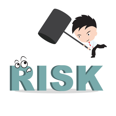 smash: Businessman holding hammer and aiming to smash the wording RISK, reduce costing concept Illustration