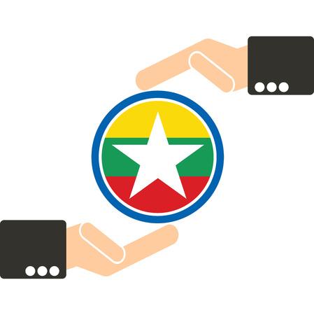 manos unidas: mano de negocios con la bandera de Myanmar