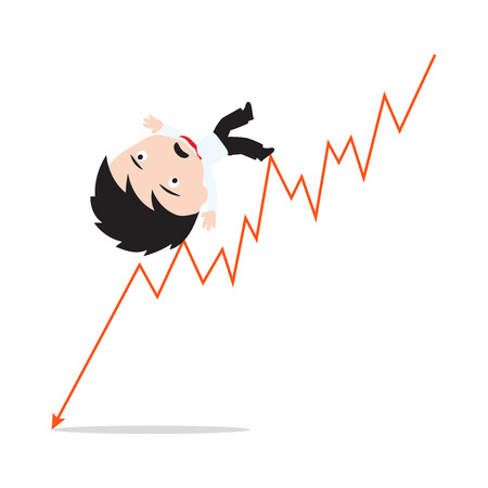 going down: Businessman unhappy or fail and going down on the red arrow trend, road to success, presented in vector form Illustration