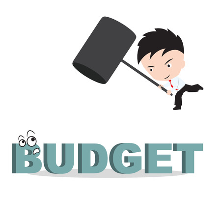 undertaking: Businessman holding hammer and aiming to smash the wording BUDGET, reduce costing concept