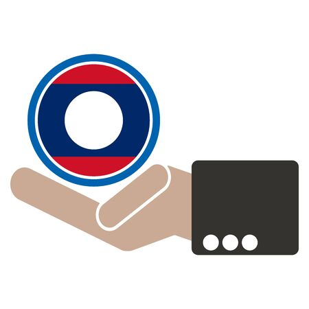 seaa: businessman hand with Laos flag