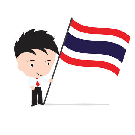 businessman standing: Businessman standing and, holding flag of Thailand