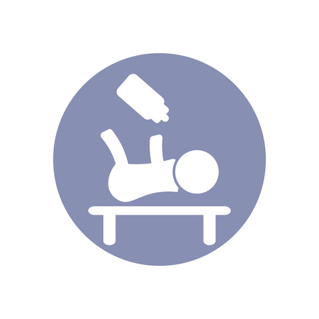 babys dummies: Baby flat icon on bed and milk Illustration