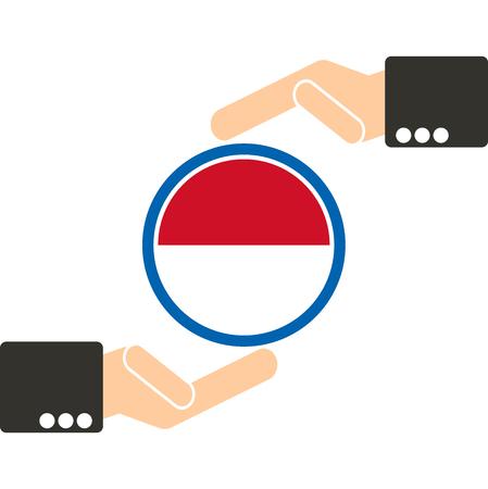 joined hands: empresario de la mano con la bandera de Indonesia