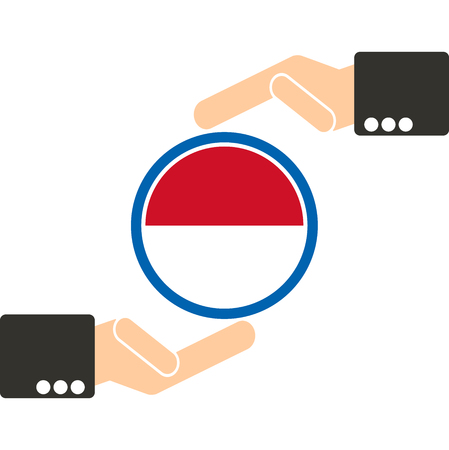 businessman hand with Indonesia flag