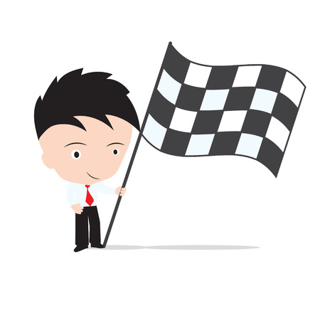 market place: Businessman standing and, holding winner flag of market place, Target business growth concept isolated on white background