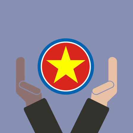 joined hands: empresario de la mano con la bandera de Vietnam