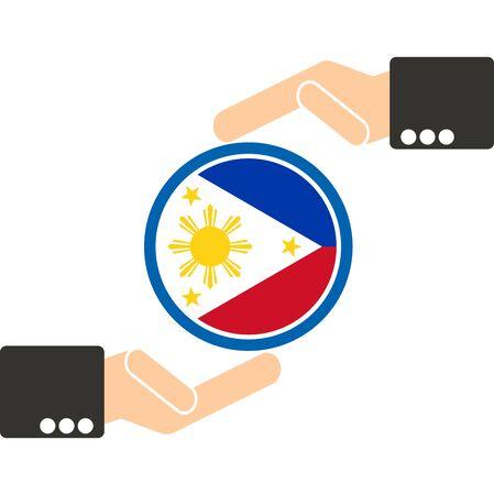 businessman hand with Philippines flag Illustration