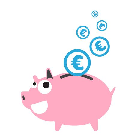 dept: Piggy bank money happy, currency Euro symbol coin falling for saving concept in vector
