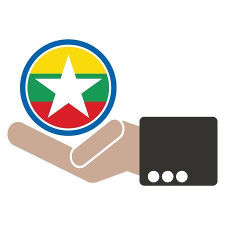 businessman hand with Myanmar flag Illustration