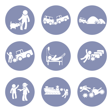 dog bite: Insurances type and accident icon set pictogram for presentation business concept background in vector