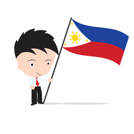 world flag: Businessman standing and, holding flag of Philippines