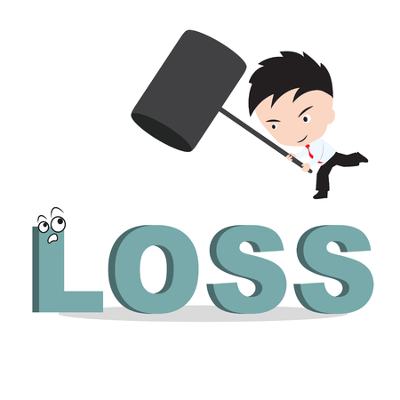 financial burden: Businessman holding hammer and aiming to smash the wording LOSS, reduce costing concept