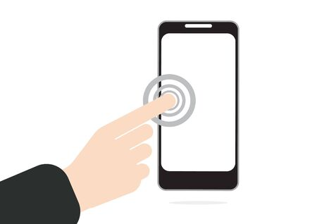 surfing the net: hand pushing or press on touch screen at mobile phone in vector