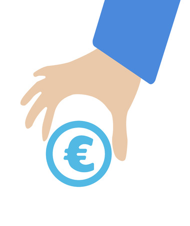 keep in: Human hand keep currency Euro symbol for market and stock money exchange concept in vector