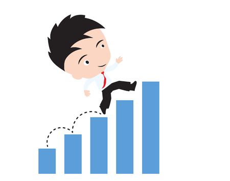 choose a path: businessman happy to walk and running up over bar chart or graph trend, road to success concept, presented in vector form Illustration