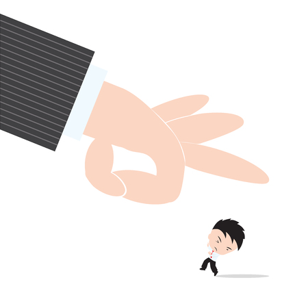 obliged: Businessman, worry and fear hand of boss kicked or strum, abstract of business recruitment concept Illustration