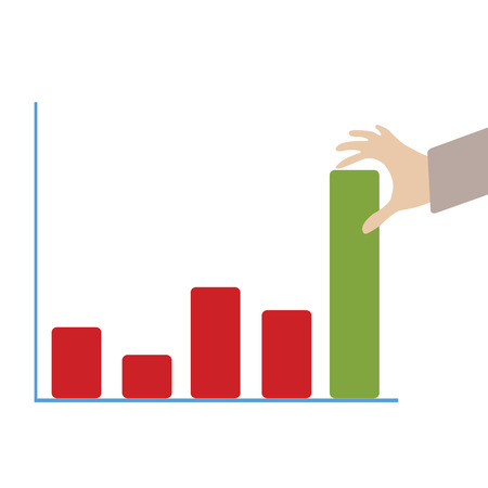 onwards: Abstract conceptual image of business hand push the business chart green color bar as background