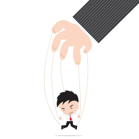 controlled: Businessman marionette on ropes controlled by other hand, on white background Illustration