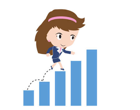 graph trend: business woman happy to walk and running up over bar chart or graph trend, road to success concept, presented in vector form