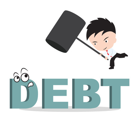 smash: Businessman holding hammer and aiming to smash the wording DEBT, reduce costing concept Illustration
