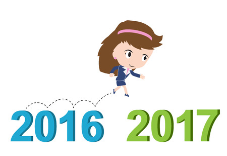 happy business woman: Happy business woman running from 2016 to 2017, new year success concept, vector