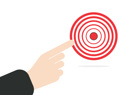 business focus: businessman hand. right forefinger pointing to the target concept in vector on white background