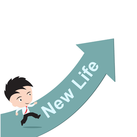 new arrow: businessman happy to running on green arrow with word New Life success concept, presented in vector form