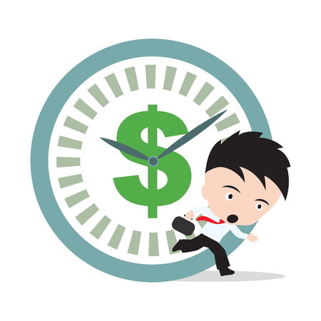 hurry up: Businessman running, hurry up for working with dollar sign and clock rush hour, on white background Illustration