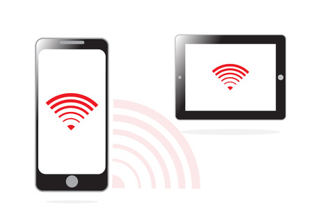 surfing the net: mobile phone and WIFI signal for communication concept in vector