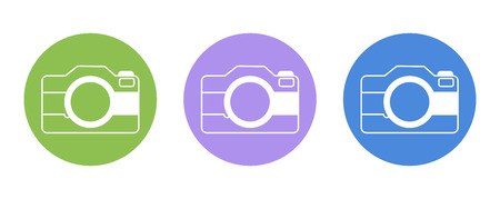 digicam: Camera flat icon pictogram, for design presentation in vector